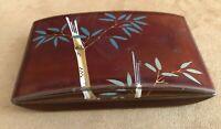 Vintage MARUMI Occupied Japan Bamboo tree Deep Red Lacquerware Metal trinket box