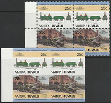 Tuvalu (1609) - LOCOMOTIVES  IMPERF Block plus matched normal unmounted