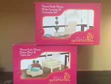 """Our Generation Patio Lounger Umbrella Set & Chair Table Set for 18"""" Doll New"""