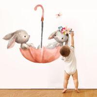 Cartoon Rabbit Wall Stickers Murals Room Art Bunny Nursery Wallpaper Decorations