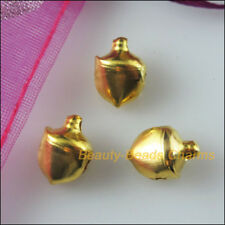 80 New Charms Gold Plated Smooth Christmas Bell Aluminum Pendants 8mm