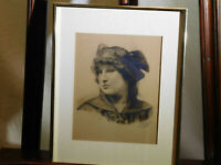 Joseph Didusch Antique c1800's Graphite Hand Drawing Etching Portrait