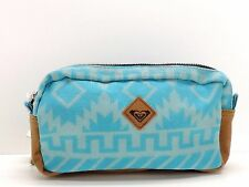 Roxy Double Zip Cosmetic Bag Case Multi Blue Canvas Makeup Travel Pouch New!