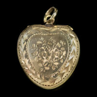 ANTIQUE VICTORIAN HEART LOCKET 9CT GOLD FORGET ME NOT CIRCA 1900