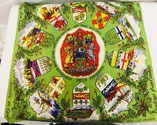 Vintage 50's Tourist Canada Provinces Scarf Foulard 19 X 19 Polyester