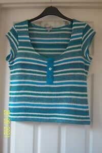 """LADIES PER UNA TOP 16 TURQUOISE STRIPE SCOOP NECK SHORT SLEEVES 21"""" LONG BUTTONS"""