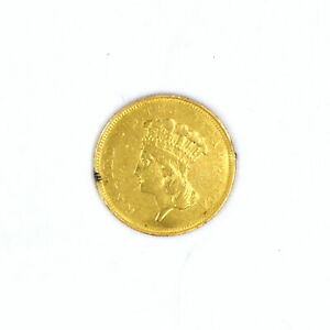 1854-0 $3 INDIAN PRINCESS 90% GOLD US COLLECTIBLE COIN KEY DATE FINE DETAILS