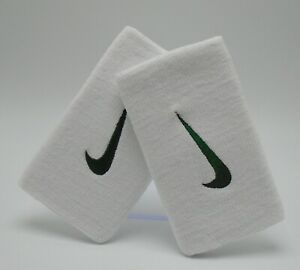 Nike Tennis Premier Doublewide Wristbands White/Gorge Green