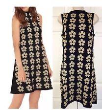 NWT SAMI DANI Sleeveless Knitwear Rayon Blend Black Gold Floral Women Dress Sz L