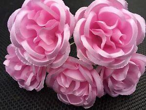 5 Bridal Wedding Baby Pink Rose Flower Hair Pins Clips Grips handmade