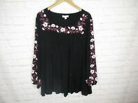 La Threads women's size XL Black Embroidered Tunic Top Square Neck