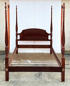 Vintage Queen Size Carved Four Poster Rice Bed