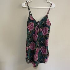 Vintage Cinema Etoile Slip Dress Size Small Floral Sexy Lingere Green Pink 1960