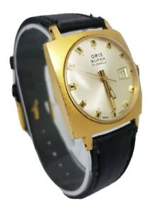 ORIS SUPER 17 JEWELS **VINTAGE** GOLD PLATED DATE WATCH A4