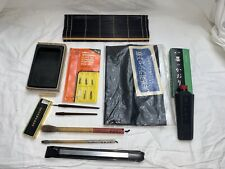 Vintage Chinese Calligraphy Writing Set Drawing Brushes Ink Inkstone.