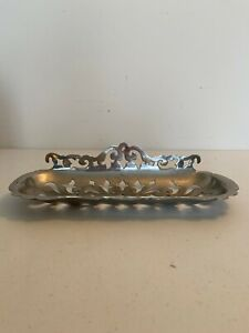 VINTAGE CHROME MANNING BOWMAN FANCY RETICULATED TRAY WALL HANGING