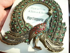 "Jeweled gem studded PIER 1 Imports Peacock mini desk 1 3/4"" photo frame New BOX"