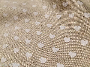 WHITE HEART CANVAS Curtain Upholstery Cotton Fabric Material hearts 140cm wide