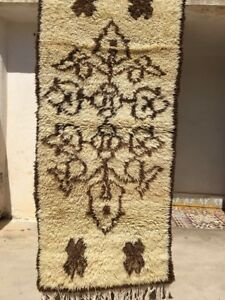 "Authentic Moroccan Azilal Handmade Rug #M45 5'3"" x 2'4"" Wool Berber Tribal"