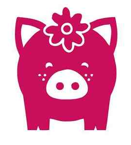 Cute Freckled Pig with Flower #1033 - Sticker / Decal / Stencil - Made to Order