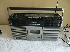 VINTAGE CROWN STEREO PORTABLE RADIO RECORDER TAPE AUTOMATIC CHROME BOOMBOX RETRO