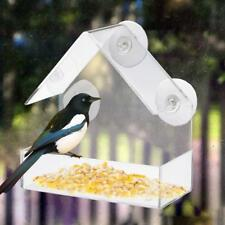 2018 GLASS WINDOW CLEAR VIEWING BIRD FEEDER TABLE SEED PEANUT HANGING SUCTION UK