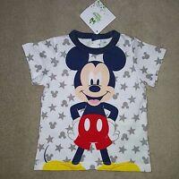 DISNEY BABY t-shirt MICKEY 3 ou 9 mois manches courtes étoiles blanc gris NEUF