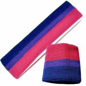 Bisexuell Schweißband Handgelenk Stirnband Set Pride Lgbt Gestreift Terry Vlies