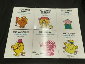 LOT OF 6 LITTLE MISS & MR MEN BOOKS BY ROGER HARGREAVES MISCHIEF MESSY FUNNY