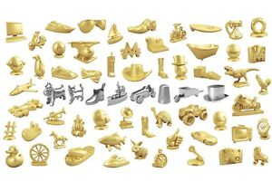 MONOPOLY INDIVIDUAL METAL GAME SILVER AND GOLD TOKENS / PIECES / SPARES