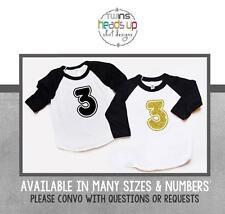 Boy/Girl Twins 3rd Birthday Shirts Twin Third Bday Raglan Tees Toddler Kids Tees