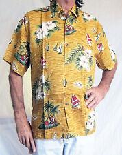Camisa Hawaiana, Oscuro Amarillo con barcos, hibisco, XL, 137cm