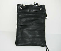 Black PASSPORT Men Lady Leather ID Card Holder Adjustable Neck Pouch Travel Bag