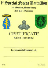 1st SPECIAL FORCES BN, 10th SPECIAL FORCES GROUP, BAD TOLZ, GERMANY, CERTIFICATE