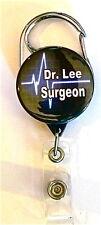 HEART RYTHEM SURGEON CARABINER ID BADGE HOLDER, RETRACTABLE REEL, KEYS NURSE, RN