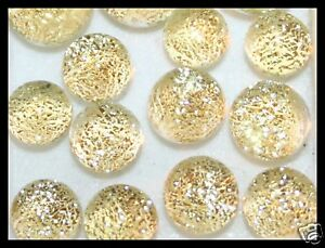 Lot of 6 TWINKLE CHAMPAGNE Fused Glass DICHROIC Cabs XS Beads