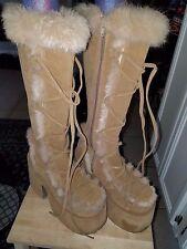 Demonia huge platform fur boots, Tan, Knee high Goth Punk Rave Festival Size 8