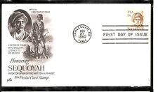 US SC # 1859 Sequoyah FDC . Artcraft Cachet