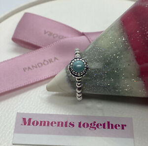Pandora December Blue Turquoise Birthstone Ring Size 50, 190854TQ Authentic Ale