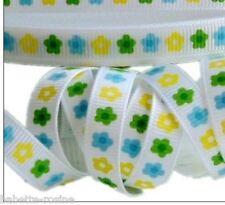 RUBAN GROS GRAIN ** 10 mm ** Fleur Printanière daisy Blanc - au mètre - couture