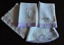 4 Vintage Table Runners/Table Topper/Tea Towels Purple Flowers Floral