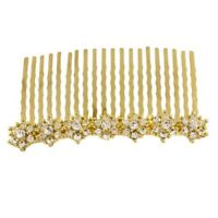 Gold Crystal Diamante Wedding Bridal Bridesmaid Prom Hair Comb Slide Side Tiara