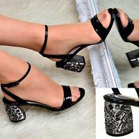 Ladies Diamante Shimmer Shoes Women Low Mid Heel Open Toe Ankle Strap Sandals