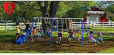Playground Metal Swing Set Outdoor Play Slide Kids Backyard Swingset Playset
