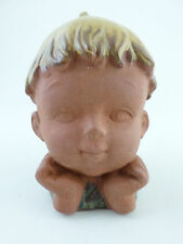 Japan Vintage Bisque Stoneware Baby Child Bust Coin Bank - 5.5""
