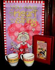 Mary Engelbreit Lot items: 2 Mugs + Desk Box & Valentines Mini Flag by Me Ink