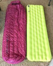 Big Agnes Roxy Ann Sleeping Bag 15° Petite & QCore Insert Sleeping Pad-Raspberry