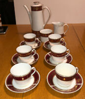 #D35A1 ~ VTG ELIZABETHAN BURGUNDY CHINA TEA SET POT 6 CUPS/SAUCERS SUGAR CREAMER