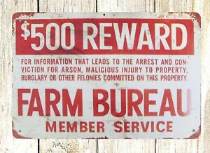 $500 Reward Farm Bureau tin metal sign decorative items for bedroom