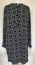 H&M LONG LENGTH TUNIC SHIRT TOP BLACK & WHITE SPOT PRINT SIZE MEDIUM UK 14/16